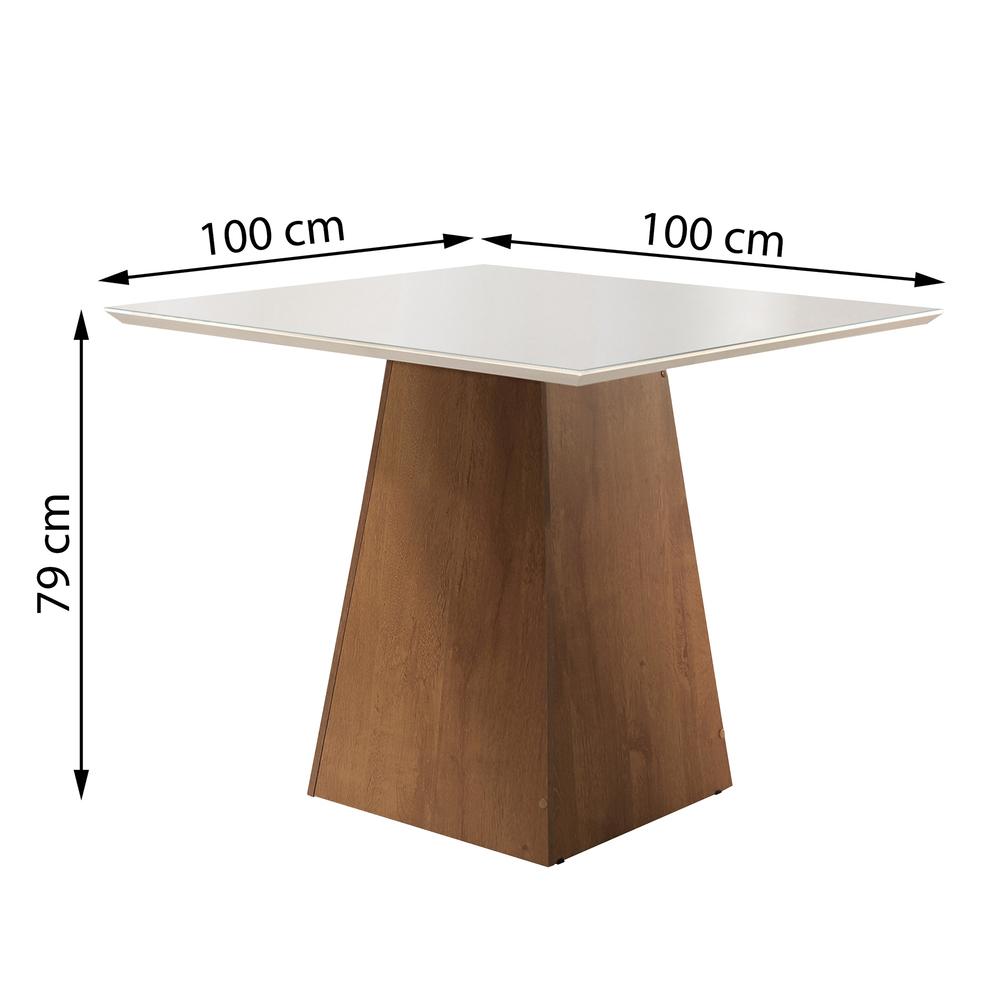 Conjunto Mesa Sevilha Tampo Slim Vidro Off White Plus 4 Cadeiras Sevilha - Chocolate/Suede Animale Bege - Cel Móveis