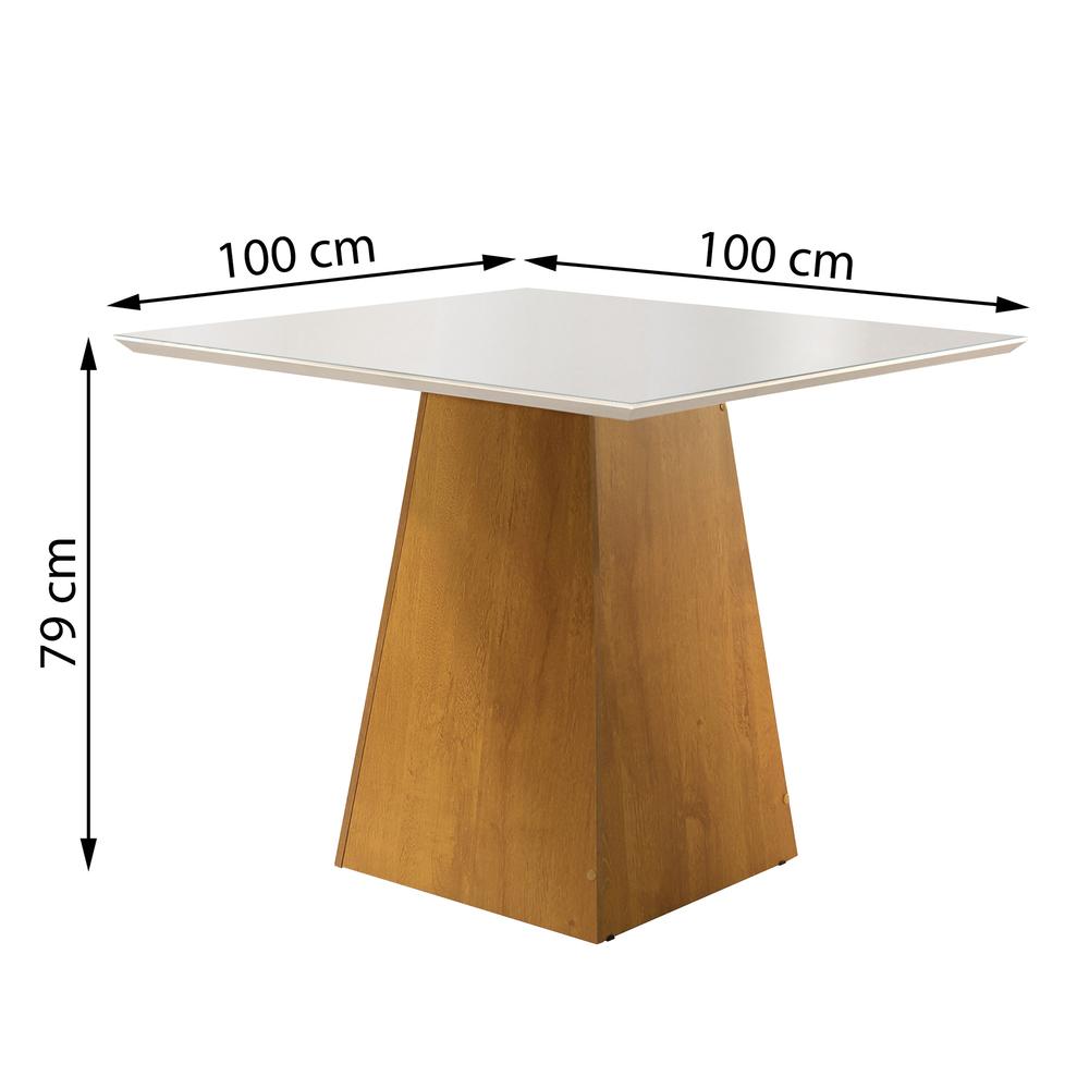 Conjunto Mesa Sevilha Tampo Slim Vidro Off White Plus 4 Cadeiras Sevilha - Ype - Cel Móveis