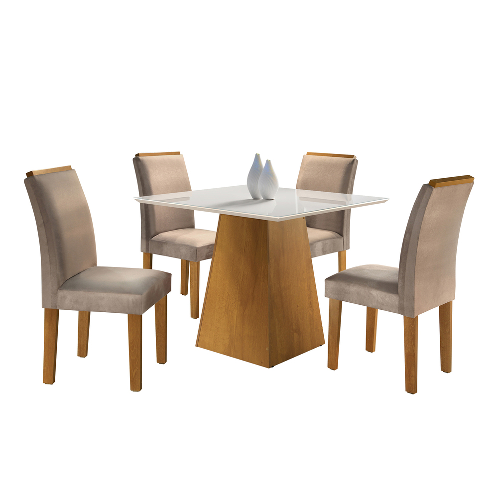 Conjunto Mesa Sevilha Tampo Slim Vidro Off White Plus 4 Cadeiras Sevilha - Ype/Suede Animale Bege - Cel Móveis