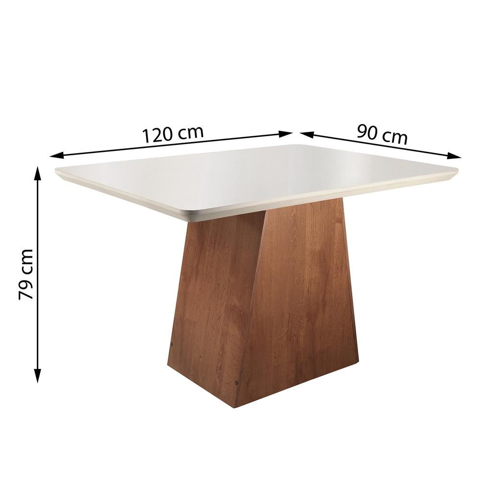 Conjunto Mesa Sevilha Tampo Smart Vidro Off White Plus 4 Cadeiras Classic - Chocolate  - Cel Móveis
