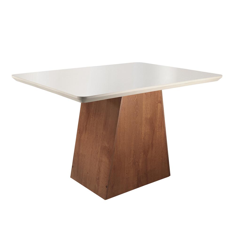 Conjunto Mesa Sevilha Tampo Smart Vidro Off White Plus 4 Cadeiras Classic - Chocolate/Linho - Cel Móveis