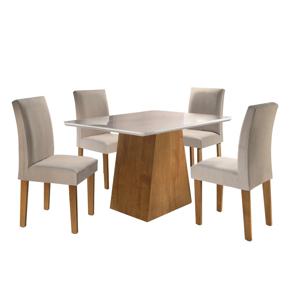 Conjunto Mesa Sevilha Tampo Smart Vidro Off White Plus 4 Cadeiras Classic - Ype/Linho - Cel Móveis