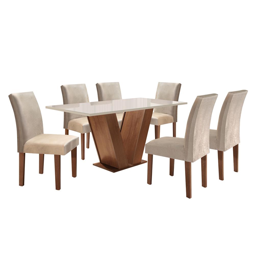 Conjunto Sala De Jantar Mesa Classic 1,60X0,90 Com 6 Cadeiras Classic Chocolate - Cel Móveis