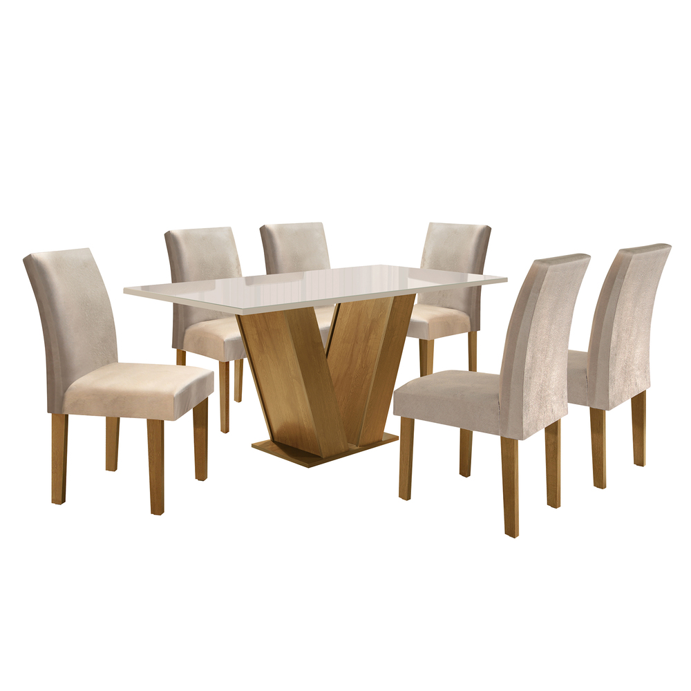 Conjunto Sala De Jantar Mesa Classic 1,60X0,90 Com 6 Cadeiras Classic  - Ype - Cel Móveis