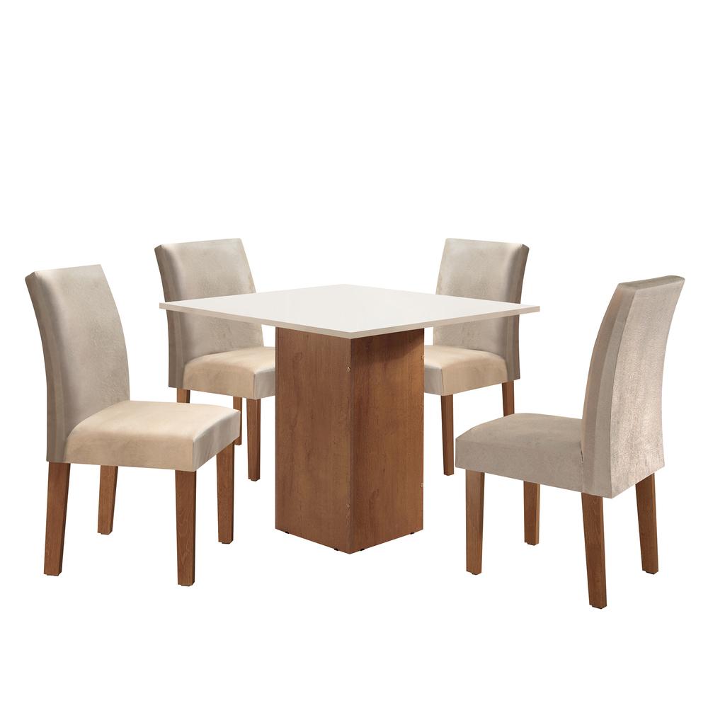 Conjunto Sala De Jantar Mesa Dakota 0,90X0,90 Com 4 Cadeiras Classic - Chocolate - Cel Móveis