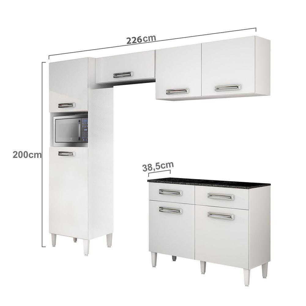 Cozinha com Balcão e Tampo Topázio Branco - CHF