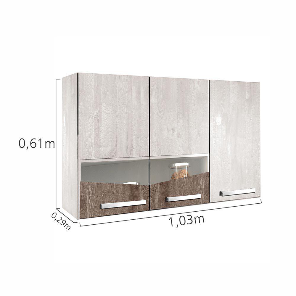 Cozinha Compacta 8 Portas Lívia Champanhe/Chocolate - CHF
