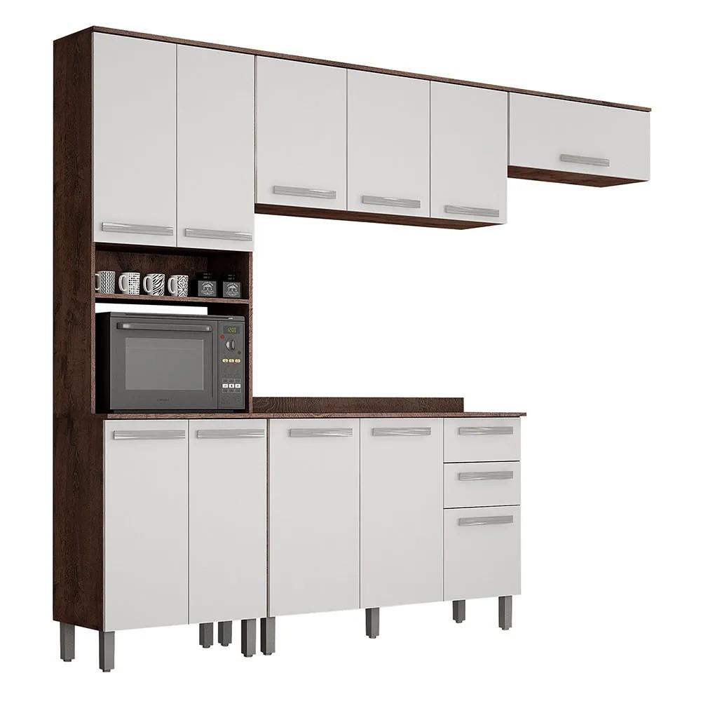 Cozinha Completa Alpes 4 Peças Ipê/Branco - Valdemóveis