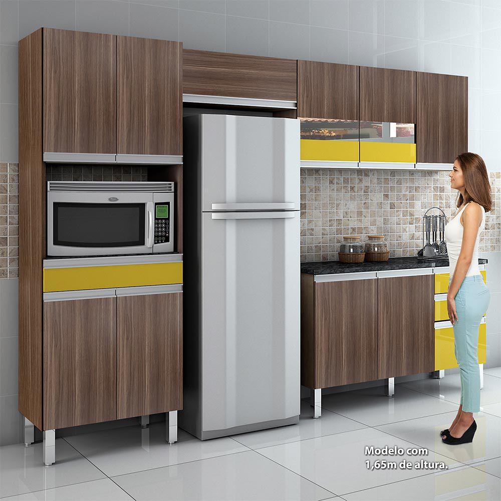 Cozinha Completa c/ Tampo Turmalina Mocaccino/Amarelo - CHF