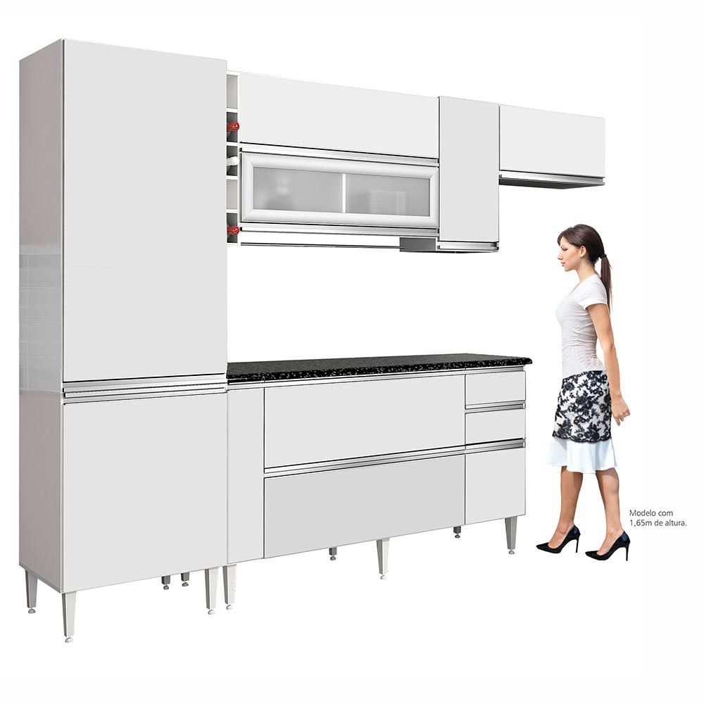 Cozinha Completa Ébano Branco - CHF