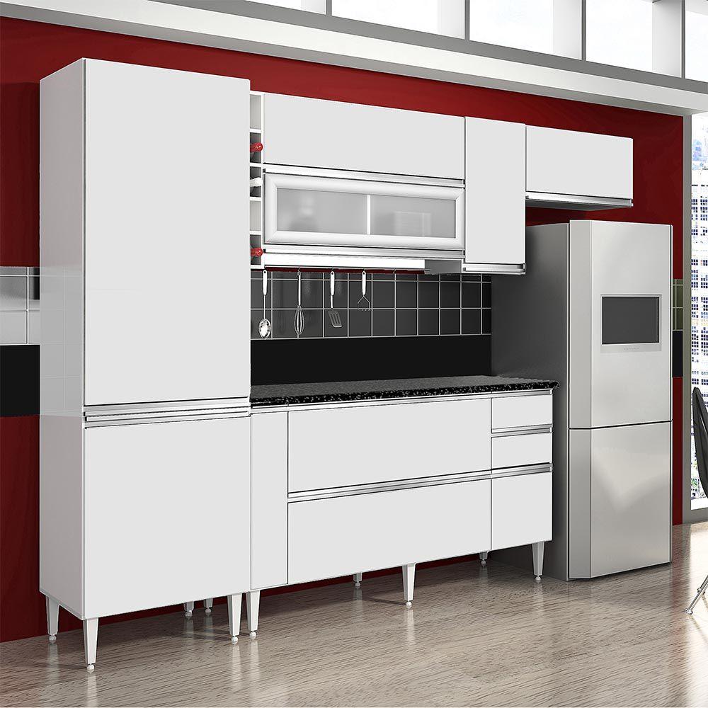 Cozinha Ébano 3 peças c/ Paneleiro Único Branco - CHF