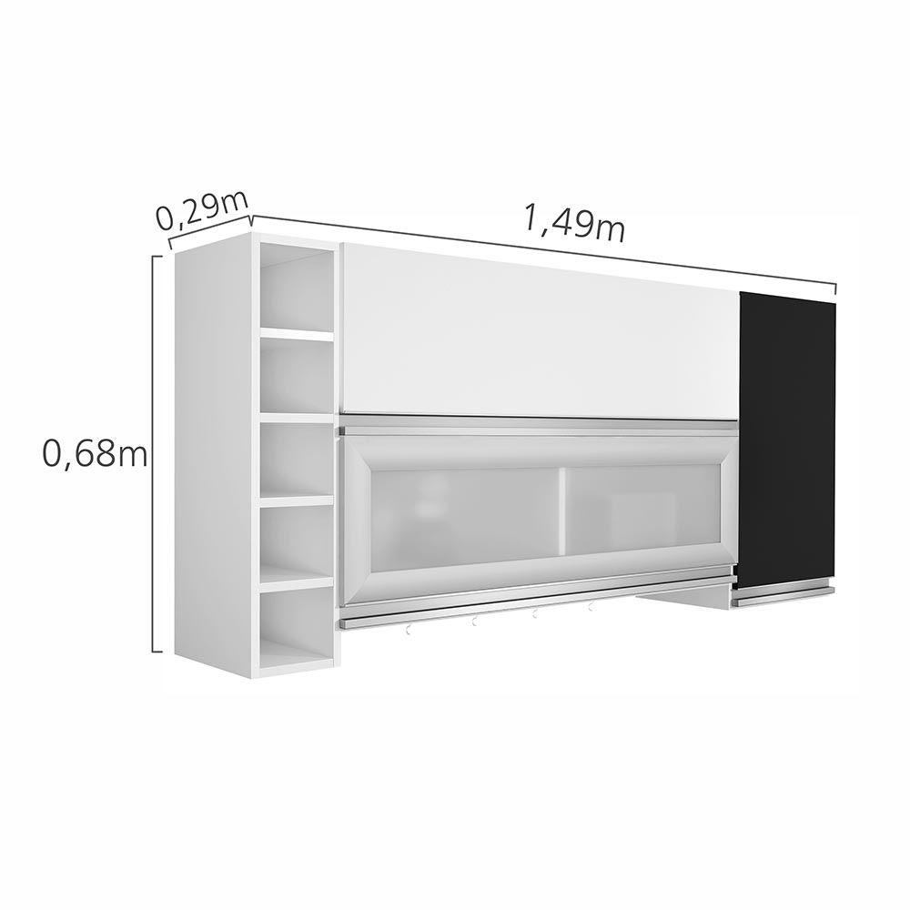 Cozinha Ébano 3 peças c/ Paneleiro Único Branco/Preto - CHF