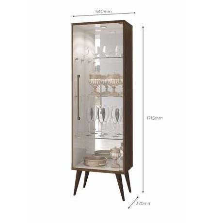 Cristaleira 1 Porta de Vidro 3 Prateleiras de Vidro Safira New - Canion Soft /Off White - Mavaular