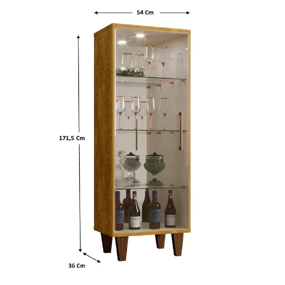 Cristaleira 1 Porta de Vidro Safira Mel/Off White - Mavaular