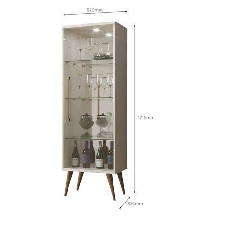 Cristaleira 1 Porta de Vidro Safira New Off White - Mavaular