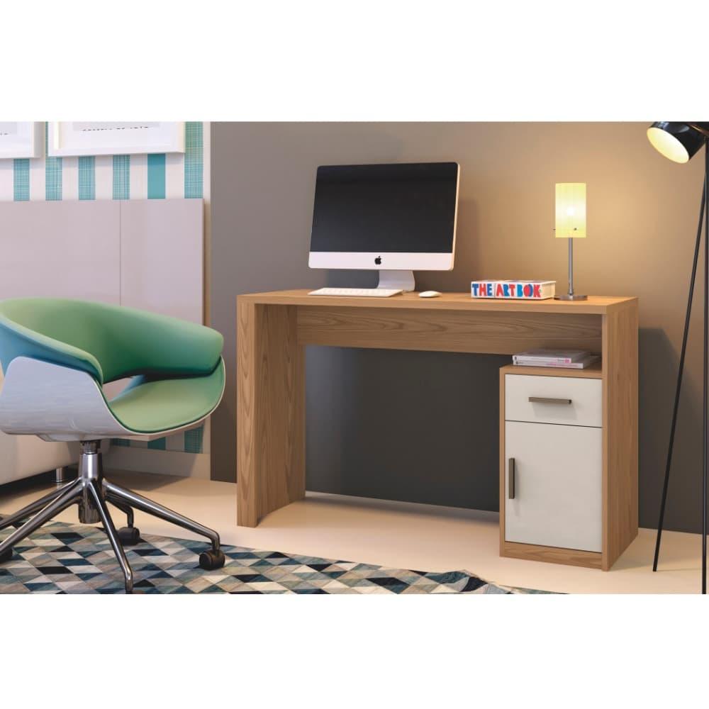 Escrivaninha 1 Porta 1 Gaveta Luminus - Damasco Soft/Off White - Mavaular