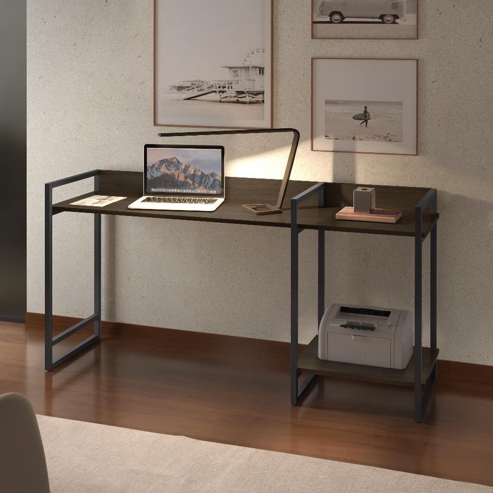Escrivaninha MD135 Grafite/Mocaccino - MAIS DECOR