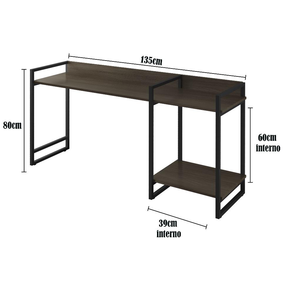 Escrivaninha MD135 Preto/Mocaccino - MAIS DECOR