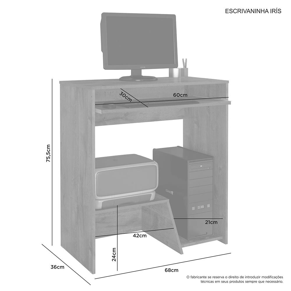 Escrivaninha Para Computador Iris Branco Jcm Movelaria