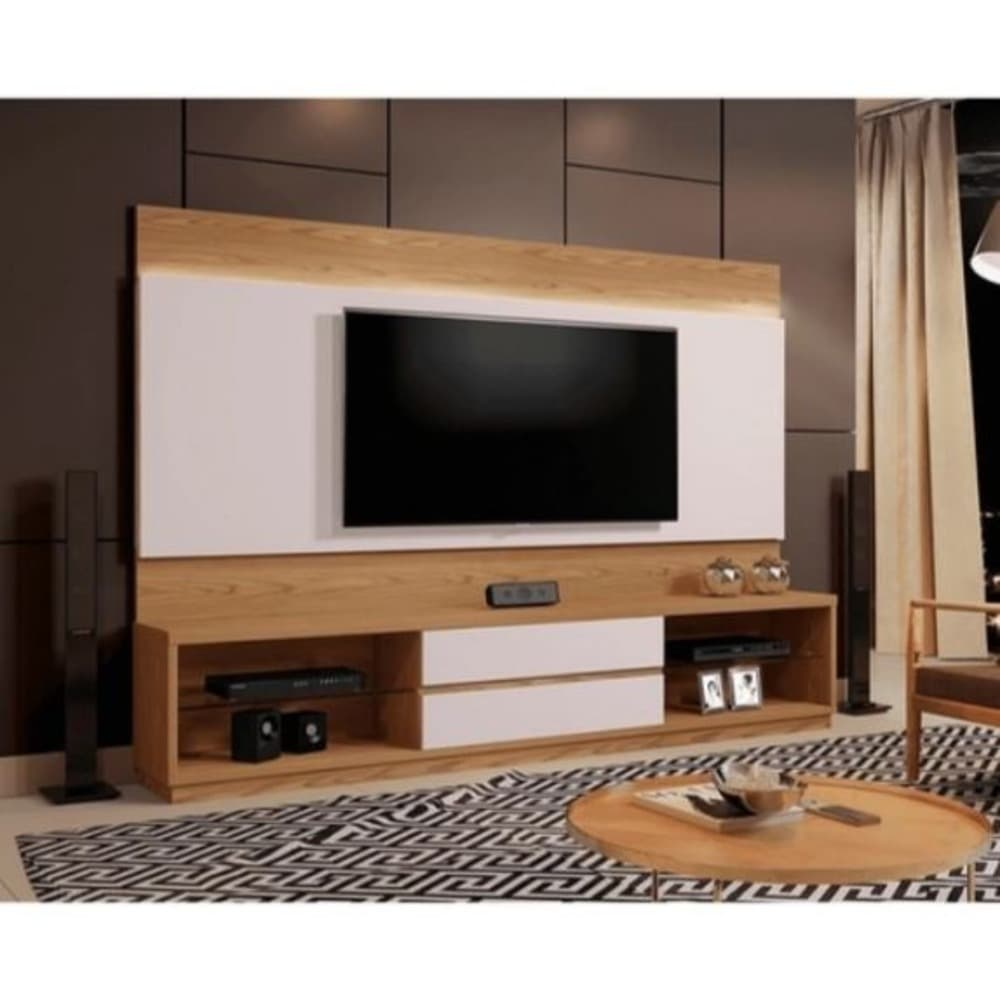 Estante com Painel Home Istambul sem Espelho para TV até 65 Polegadas  - Damasco Soft/Off White - Mavaular