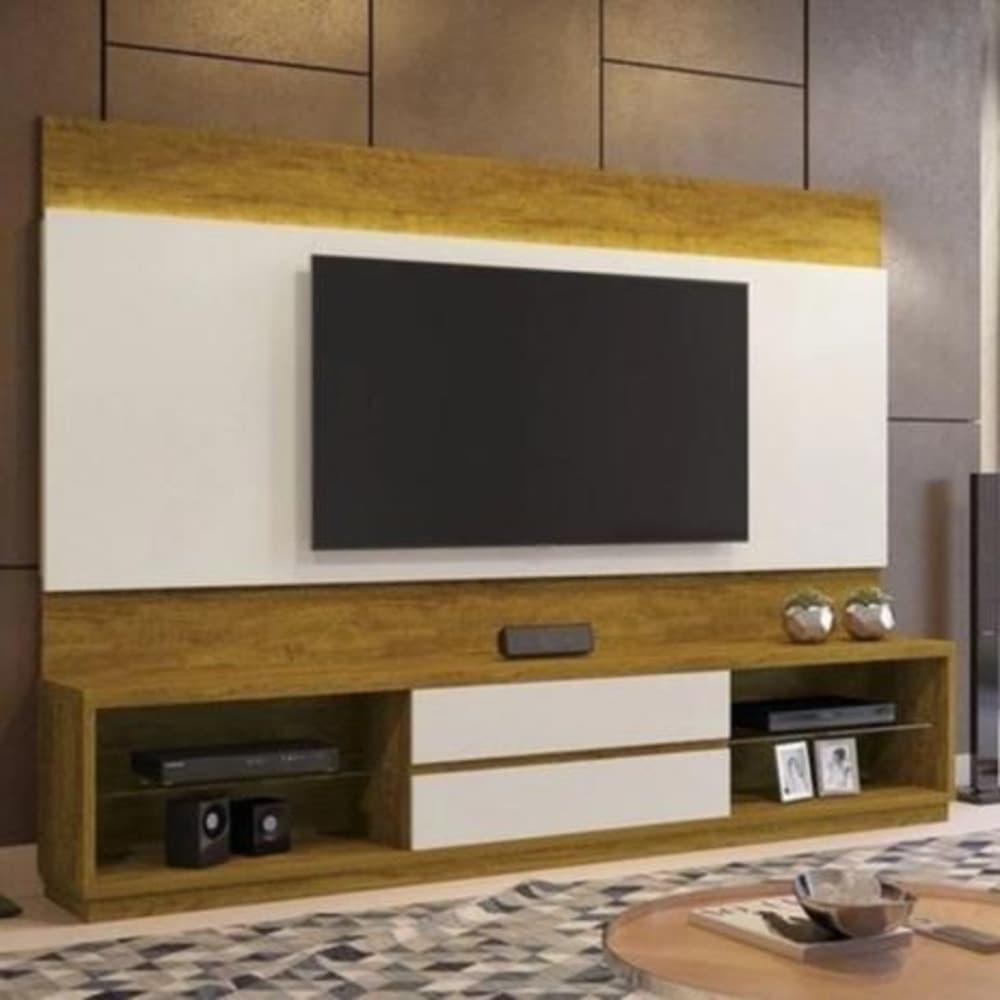Estante com Painel Home Istambul sem Espelho para TV até 65 Polegadas - Mel/Off White - Mavaular