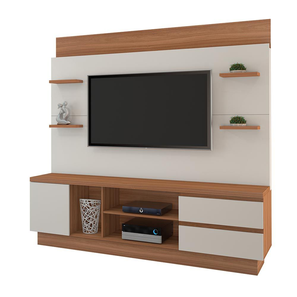"Estante Home P/ TV até 60"" Buran Naturale/Off JCM Movelaria"