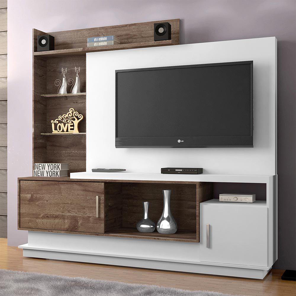 Estante Home para TV Adustina Branco/Chocolate - CHF