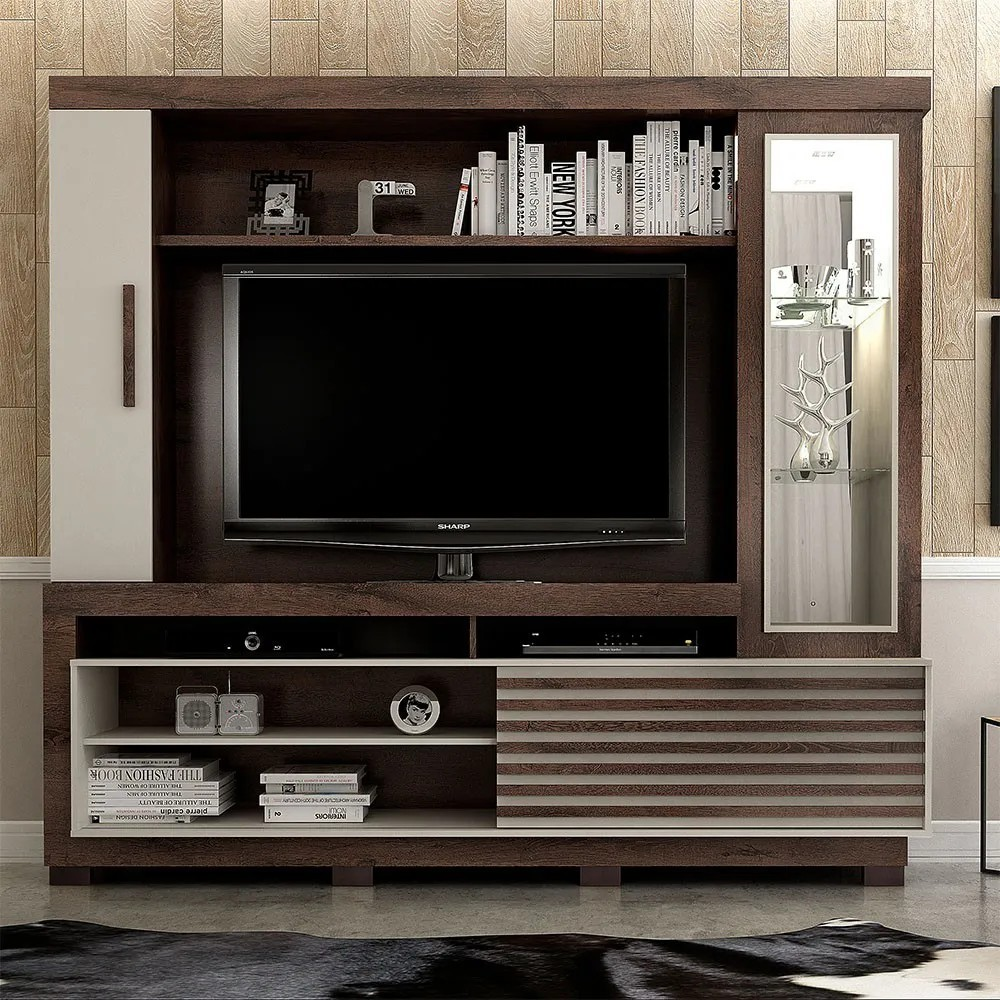 Estante Home para TV até 60 Polegadas 1 Porta Deslizante Lexus Castanho/Off White - Valdemóveis