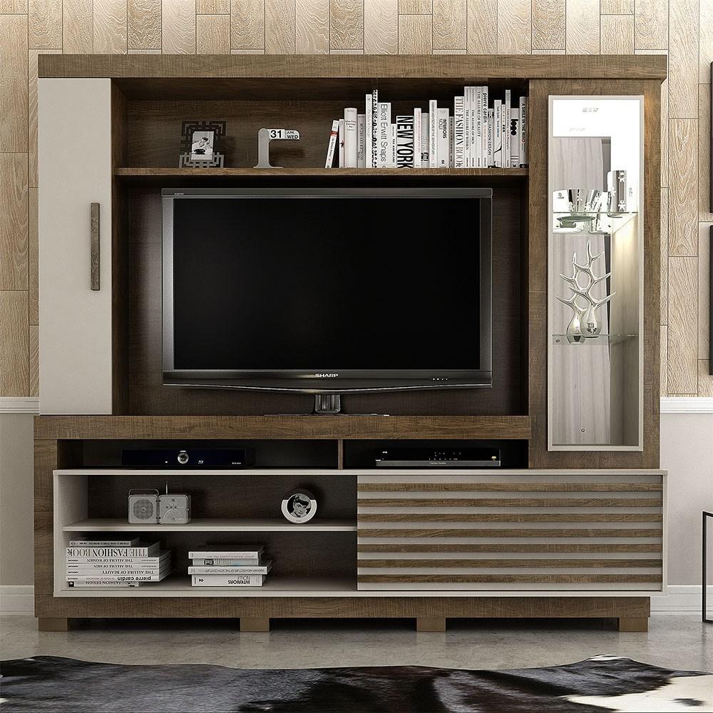 Estante Home para TV até 60 Polegadas 1 Porta Deslizante Lexus Ipê/Off White - Valdemóveis