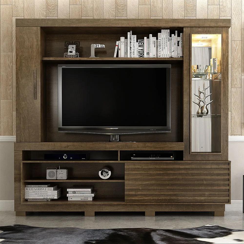 Estante Home para TV até 60 Polegadas 1 Porta Deslizante Lexus Ipê - Valdemóveis