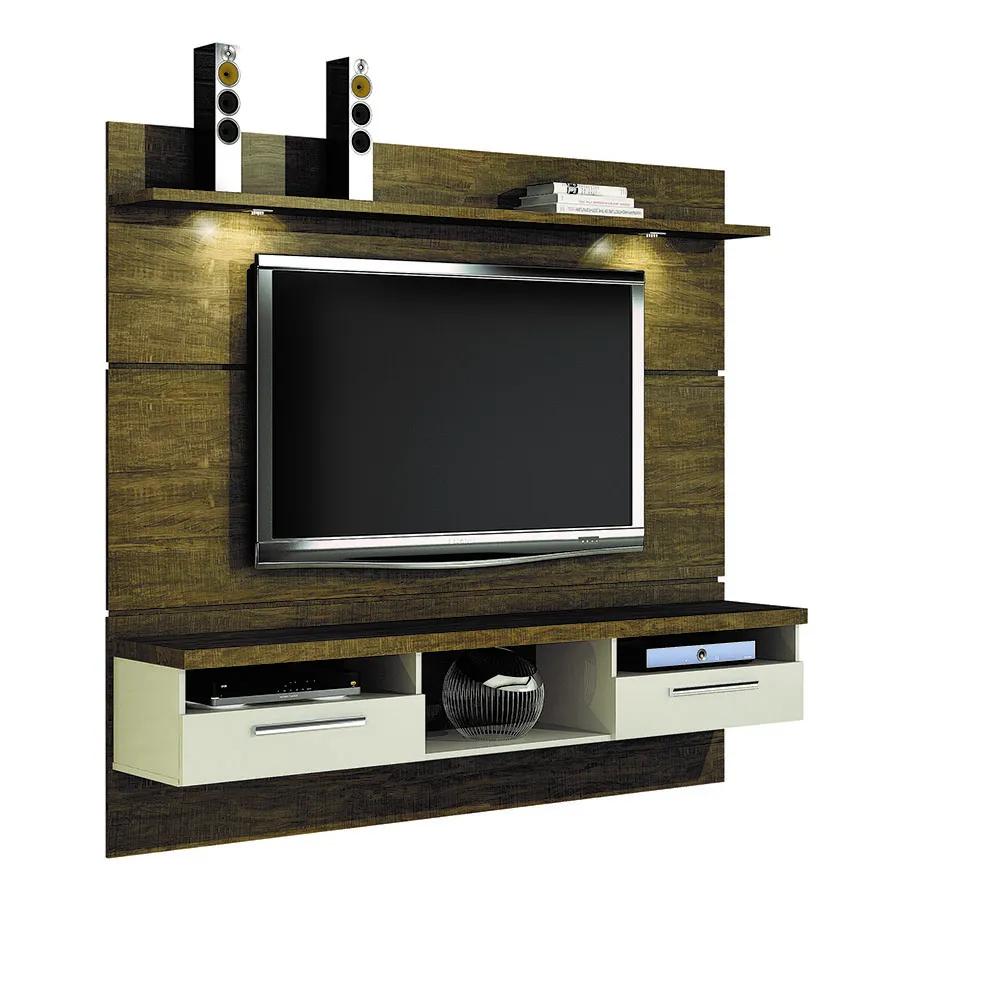 Estante Home Theater Para Tv Até 60 Polegadas Com Led Evidence Ipê/Off White - Valdemóveis