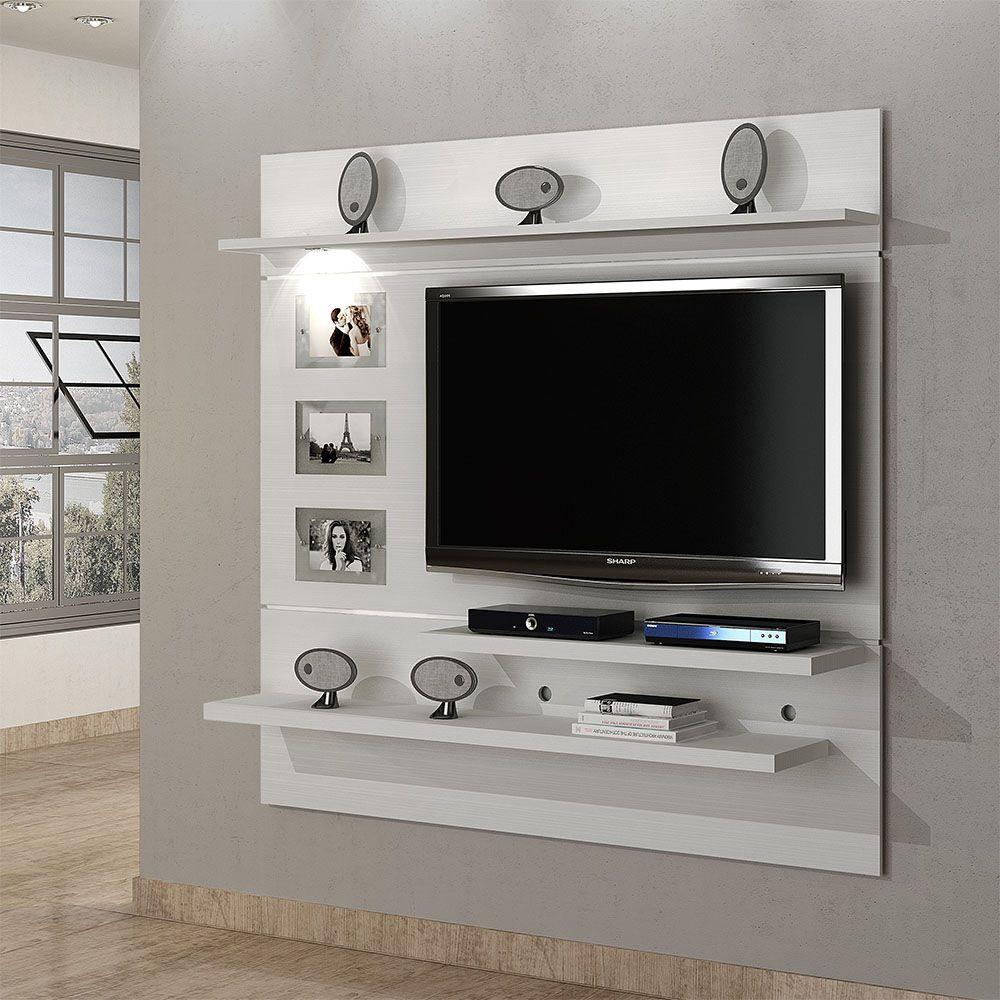 Estante Home Theater Suspenso para TV Até 60 Polegadas Interativo Branco Fosco - Valdemóveis