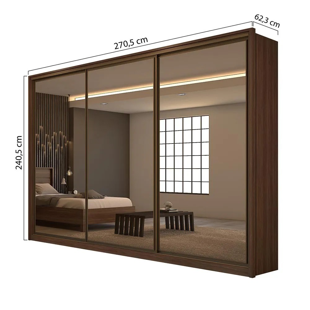 Guarda Roupa Casal C/03 Espelho 3 Portas 6 Gavetas Spazio Super Glass Imbuia Naturale/Off White/Imbuia Naturale - Lopas