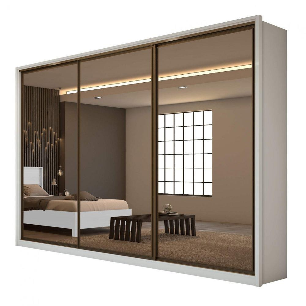 Guarda Roupa Casal c 3 Espelhos 3 Portas 6 Gavetas Spazio Super Glass Branco - Móveis Lopas