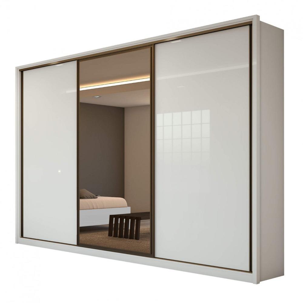 Guarda Roupa Casal com 01 Espelho 3 Portas 6 Gavetas Spazio Glass Branco - Lopas