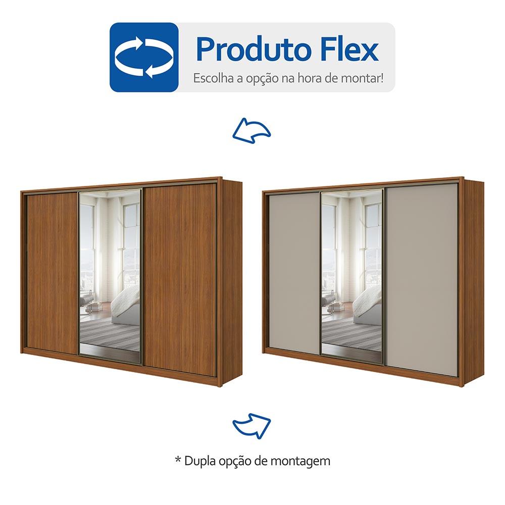 Guarda Roupa Casal com 01 Espelho 3 Portas 6 Gavetas Spazio Glass Rovere Naturale/Off White/Rovere Naturale - Lopas