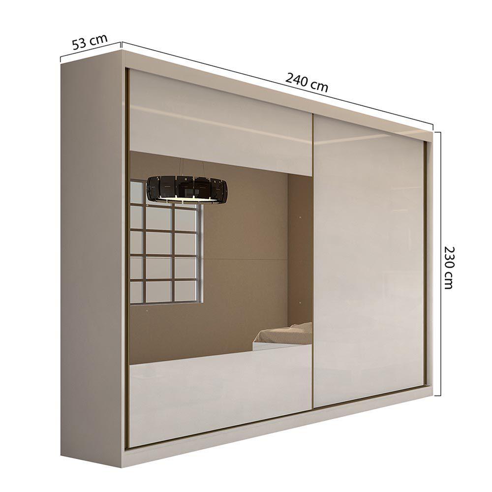 Guarda Roupa Casal com 2 Espelho 2 Portas 4 Gavetas Royal Branco - Lopas