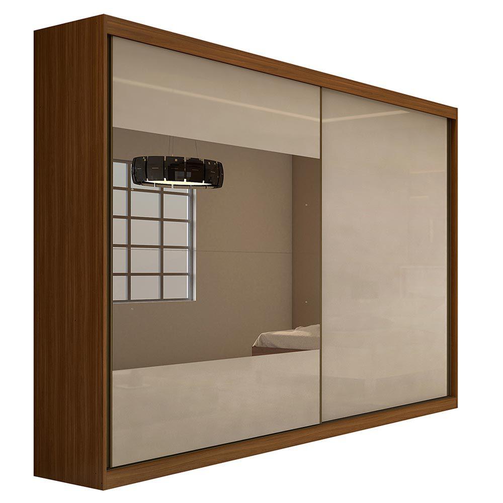 Guarda Roupa Casal com 2 Espelho 2 Portas 4 Gavetas Royal Rovere Naturale/Off White - Lopas