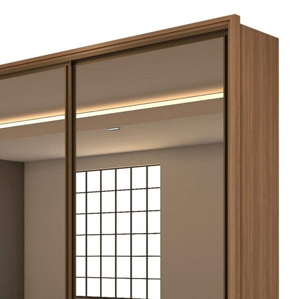 Guarda Roupa Casal com 3 Espelhos 3 Portas de Correr 6 Gavetas Spazio Super Glass Móveis Lopas