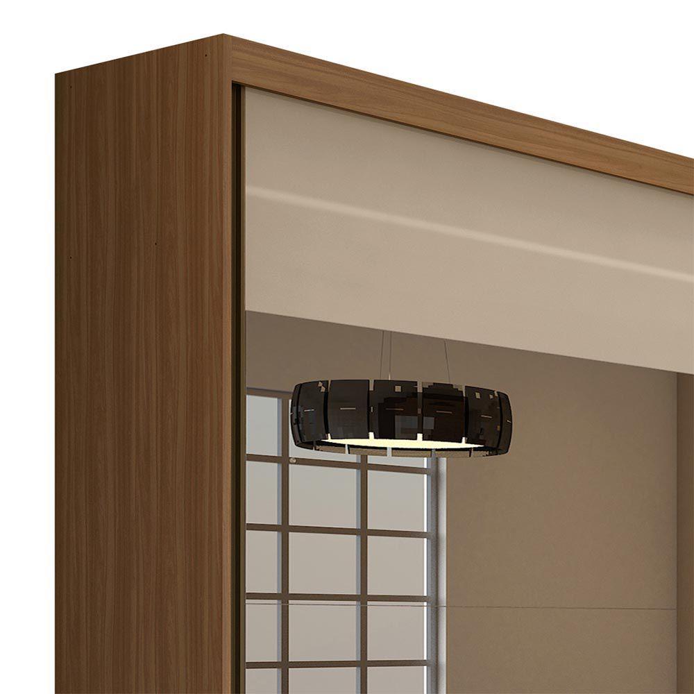 Guarda Roupa Casal com 4 Espelho 2 Portas 4 Gavetas Royal Carvalho Naturale/Off White - Lopas