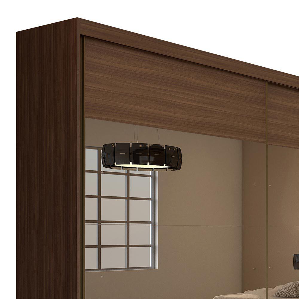 Guarda Roupa Casal com 4 Espelho 2 Portas 4 Gavetas Royal Imbuia Naturale - Lopas