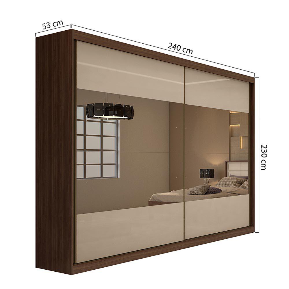 Guarda Roupa Casal com 4 Espelho 2 Portas 4 Gavetas Royal Imbuia Naturale/Off White - Lopas
