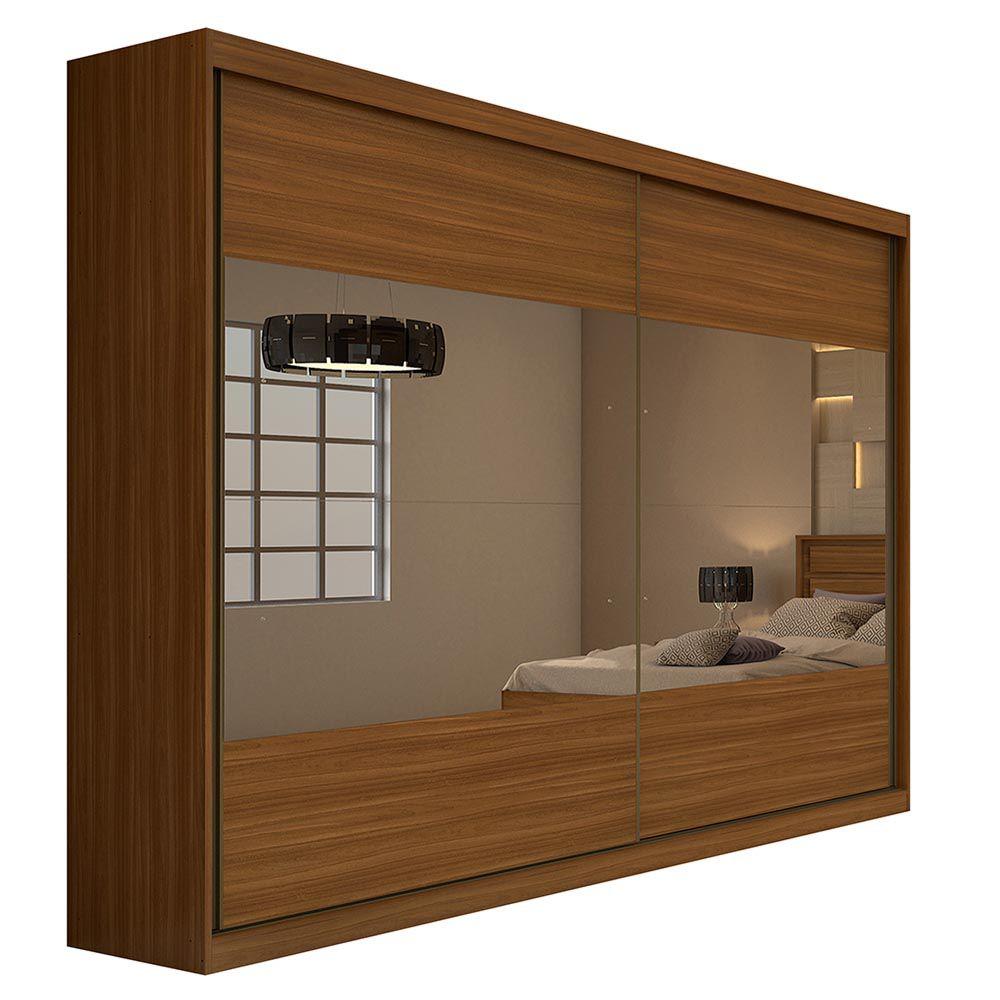Guarda Roupa Casal com 4 Espelho 2 Portas 4 Gavetas Royal Rovere Naturale - Lopas