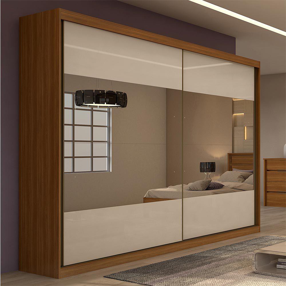 Guarda Roupa Casal com 4 Espelho 2 Portas 4 Gavetas Royal Rovere Naturale/Off White - Lopas