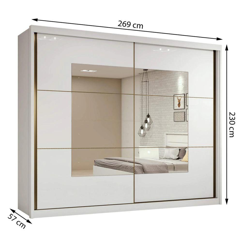 Guarda Roupa Casal com Espelho 2 Portas 6 Gavetas Toronto Branco - Lopas