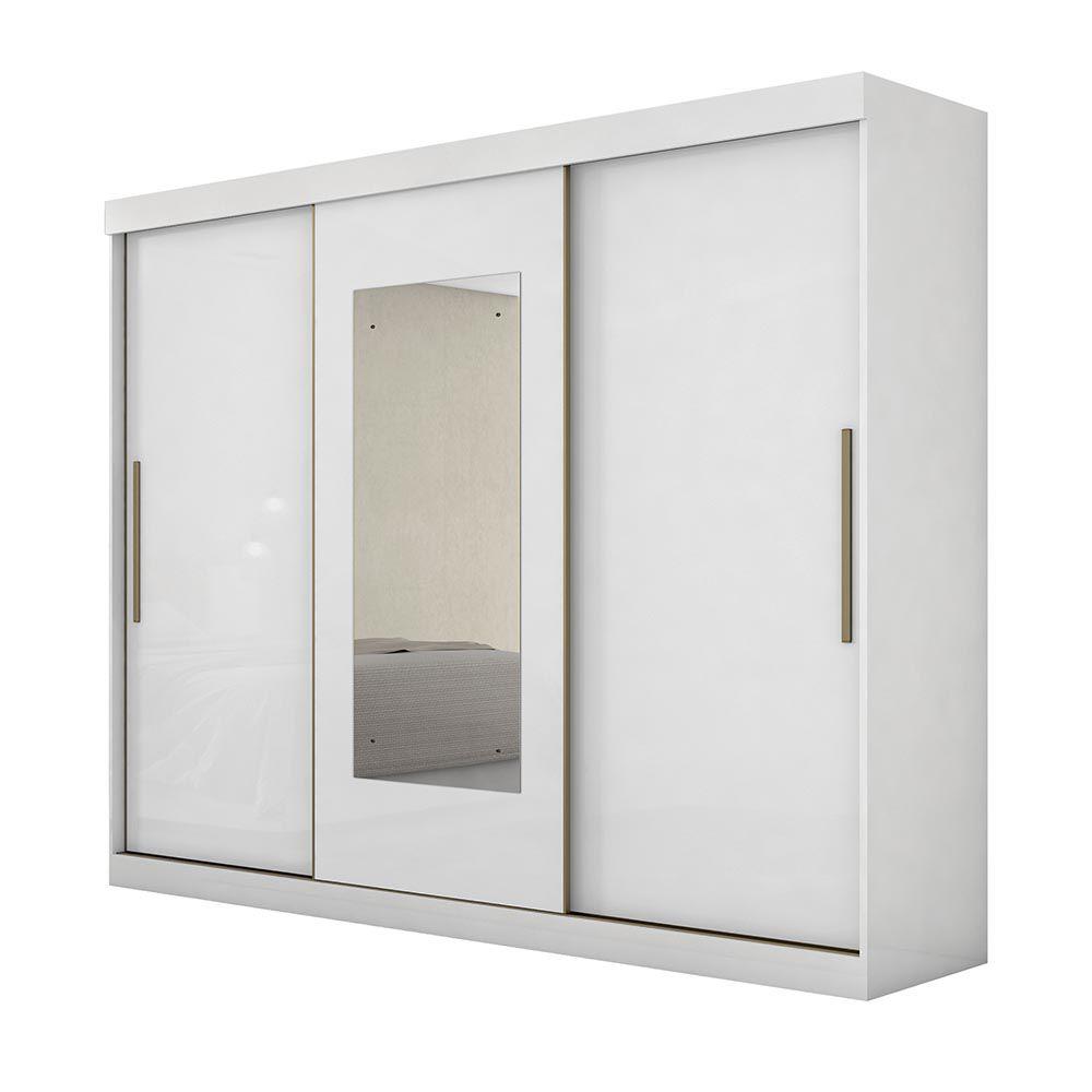 Guarda Roupa Casal com Espelho 3 Portas 3 Gavetas Valsa Branco - Lopas