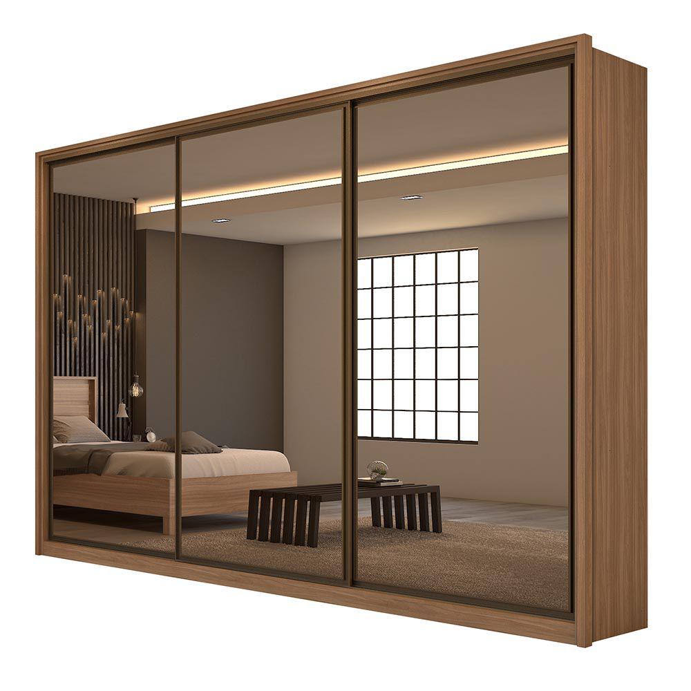 Guarda Roupa Casal com Espelho 3 Portas 6 Gav. Spazio Super Glass Carvalho Naturale/Off White/Carvalho Naturale - Lopas
