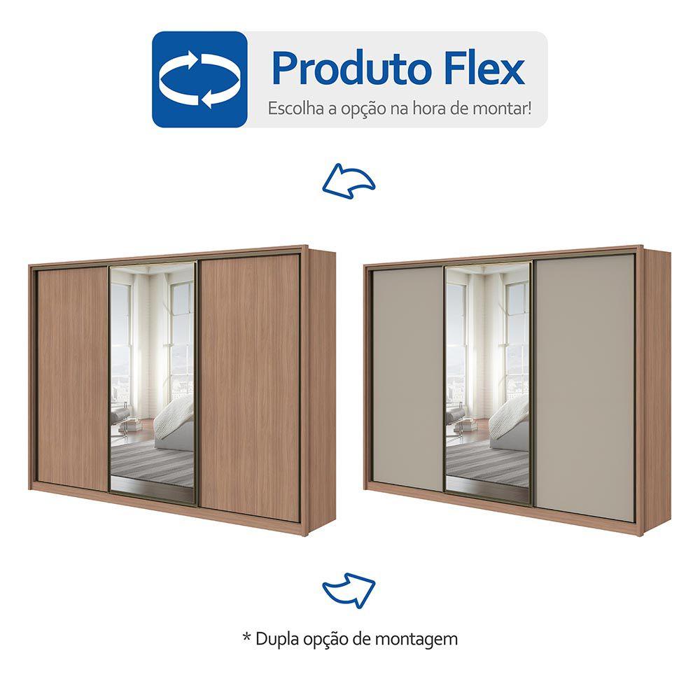 Guarda Roupa Casal com Espelho 3 Portas 6 Gavetas Spazio Glass Carvalho Naturale/Off White/Carvalho Naturale - Lopas