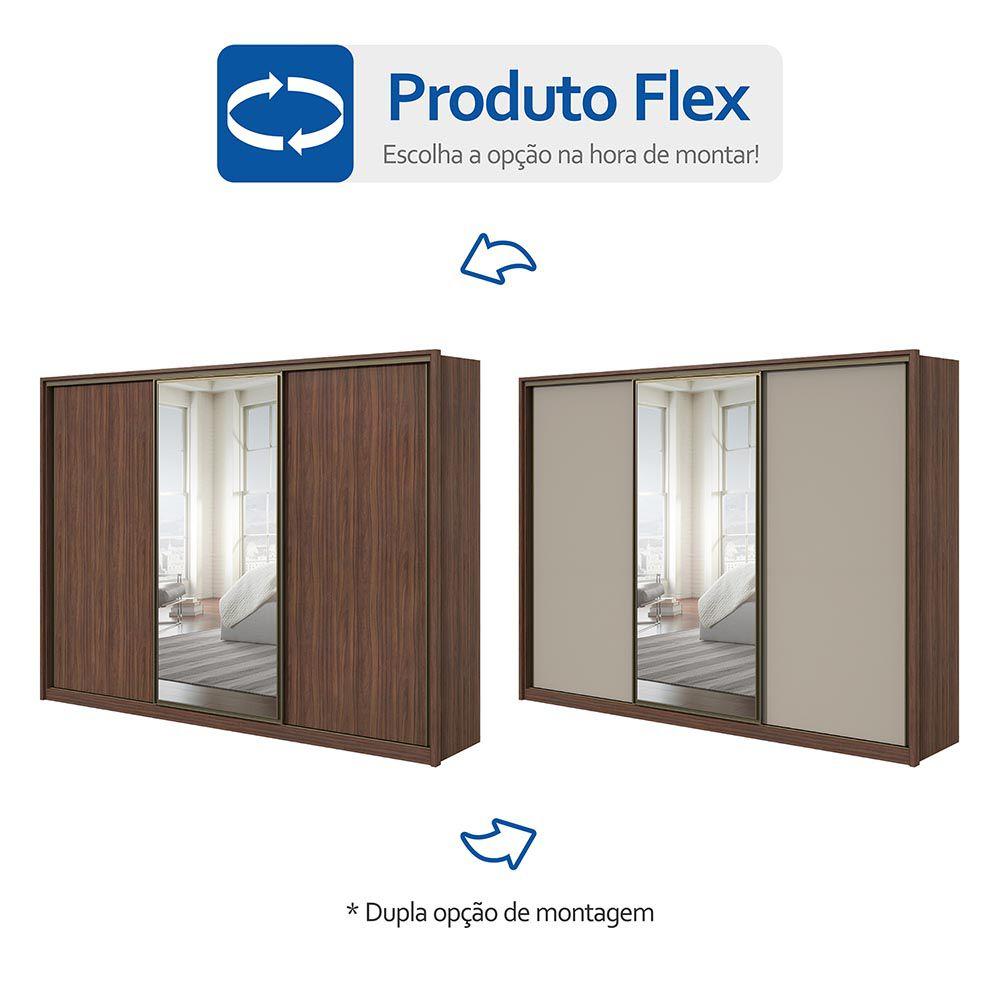 Guarda Roupa Casal com Espelho 3 Portas 6 Gavetas Spazio Glass Imbuia Naturale/Off White/Imbuia Naturale - Lopas