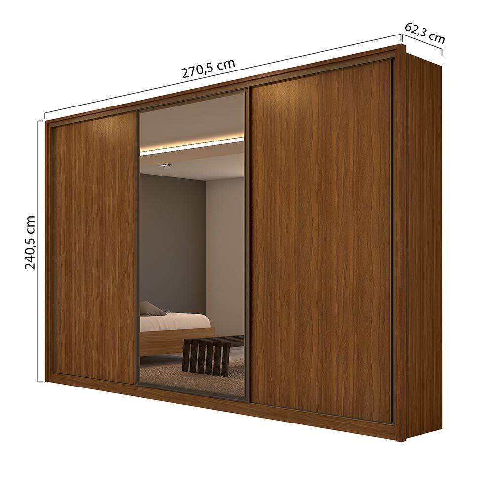 Guarda Roupa Casal com Espelho 3 Portas 6 Gavetas Spazio Glass Rovere Naturale/Off White/Rovere Naturale - Lopas